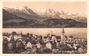 Switzerland Old Vintage Antique Post Card Zug und die Berner Hochalpen Real P...