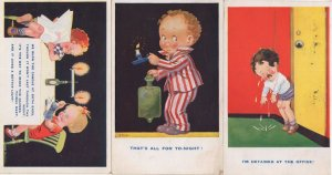 Children Being Adults Office Boardroom 3x Comic Old Postcard s