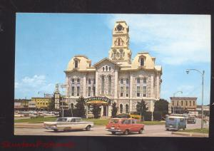 WEATHERFORD TEXAS PARKER COUNTY COURT HOUSE VOLKSWAGEN BUS CARS POSTCARD