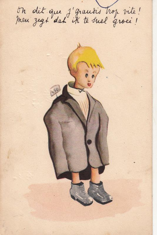 BELGIAN HUMOUR COMIC POSTCARD BLONDE BOY CARICATURE WITH EXTRA SIZE COAT
