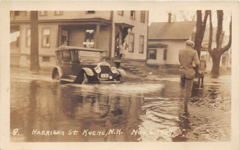 Keene New Hampshire~Harrison Street Flooded~Vintage Car Drives in Water~30s RPPC