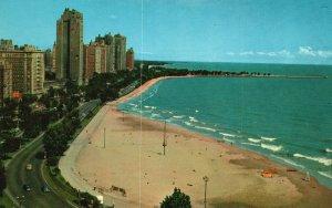 Vintage Postcard The Fabulous Gold Coast Tower Fringing on Lake Michigan