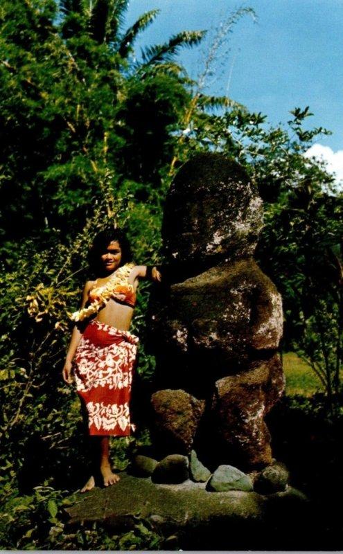 Tahiti The Two Tahitian Idols Tiki and Miri