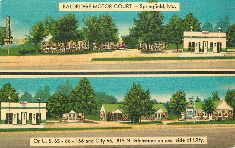 Baldridge Motor Court Route 66 Springfield Missouri roadside Postcard MWM 3342