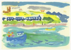 St Ives Train At Hayle Penzance Cornwall Railway Painting Postcard