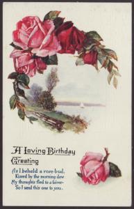 A Loving Birthday Greeting,Roses,Scene Postcard
