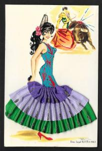 Dancing Spanish Lady Dress Real Ribbon & Embroidery Unused c1963