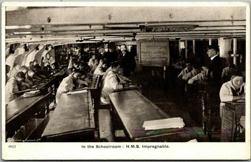 Vintage BRITISH NAVY Military Postcard H.M.S. IMPREGNABLE In the Schoolroom