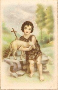 St. John with the lamb Nice vintage Spanish religious postcard