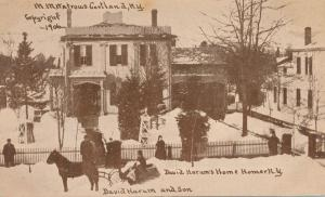 Homer NY, New York - David Harum's Home with Son in Sleigh - pm 1912 - UDB