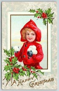 Christmas~Little Girl in Red Hood Stockpiles Snowballs~Embossed~Stecher 241 B