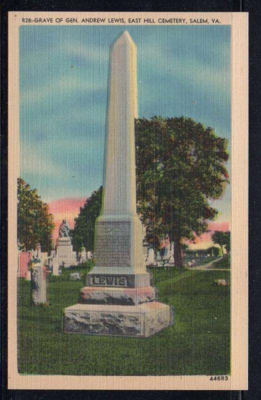 Virginia colour postcard Grave of Gen. Andrew Lewis Salem unused
