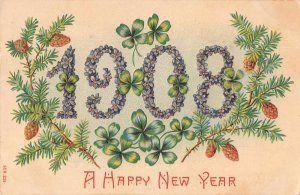A Happy New Year 1908 pine cones branches purple flowers antique pc BB1103