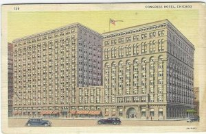Vintage 1940's Congress Hotel, Chicago, IL Linen Postcard