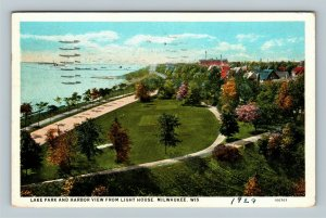 Lake Park & Harbor View From Lighthouse, Vintage Milwaukee Wisconsin Postcard