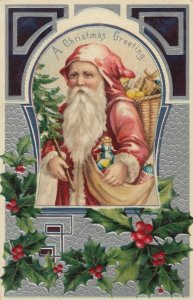 CHRISTMAS, 1918 ; Santa Claus , Basket of toys , Holly