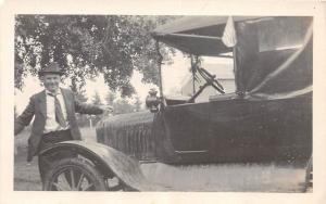 D51/ Early Automobile Car Auto Real Photo RPPC Postcard C1920 Man Patriotic 6