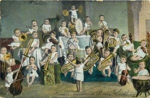 Multi babies music band master orchestra children surrealism postcard 1905