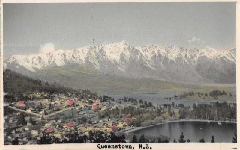 Queenstown New Zealand Birds Eye View Tinted Real Photo Antique Postcard J59053