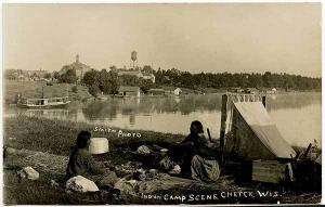 Chetek WI Indian Camp Scene 1909 Signed Smith Boat RPPC Real Photo Postcard