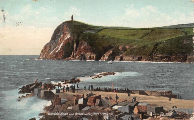 PORT ERIN ISLE OF MAN UK~BRADDA HEAD AND BREAKWATER POSTCARD 1910 PMK