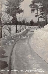 C67/ Iron Mountain Michigan Mi Real Photo RPPC Postcard 1944 Winter Scene Road