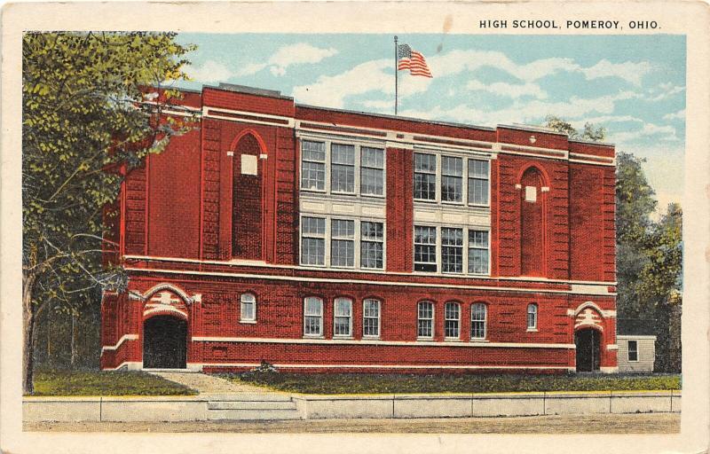 F28/ Pomeroy Ohio Postcard c1920 High School Building 5