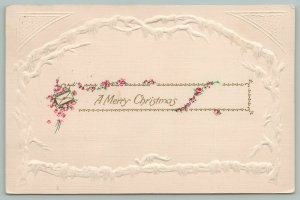 Christmas~Icy Covered Branches~Tiny Red Flowers Wrap Message~Gold~Emb~Germany