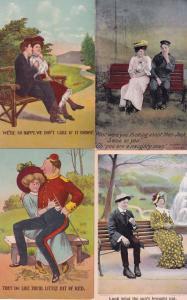 4x Park Bench Military Humour Old Postcard Bundle