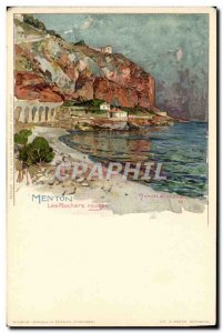Old Postcard Illustrator Menton The red rocks