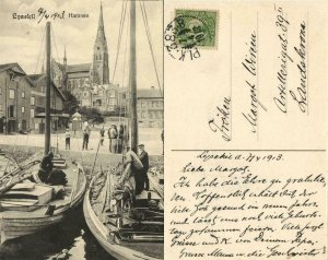 sweden, LYSEKIL, Hamnen, Harbour with Fishing Boats (1913) Postcard