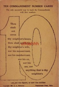 TEN COMMANDMENT NUMBER CARDS 10 copyright 1897 Kilborne Cut out or sew outline