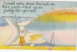 Fishing Humour I Could Only Show The Tail On This Card 1938
