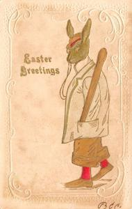 Easter Fantasy~Dressed Rabbit in Suit & Hat~Shoes~Baseball Bat in Pocket~1905