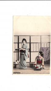 B81585 prepering for dinner geisha types japan front/back image