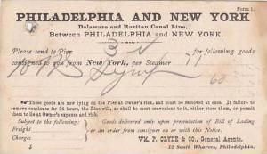 Goods delivered BIll of Laden, WM. P. Clyde & Co., General Agents, Philadelph...