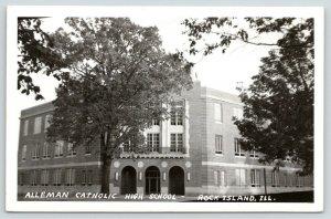 Rock Island Illinois~Alleman Catholic High School~Triple Arch Door~1950s RPPC