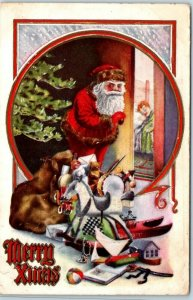 1910s Christmas Postcard SANTA CLAUS w/ Pile of Toys at Xmas Tree / Sleeping Boy