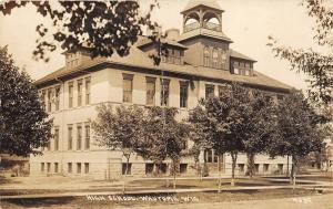 Wautoma Wisconsin~High School Building~Small Trees in Front~c1910 RPPC-Postcard