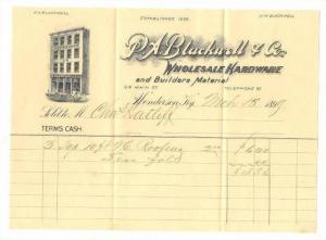 Letterhead, P.A. Blackwell & Company, Wholesale Hardware, Henderson, Kentucky...