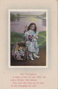 Girl With A Decorated Small Wagon, Birthday GREETINGS, 1900-1910s