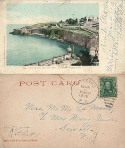 SAN JUAN PUERTO RICO CASA BLANCA ANTIQUE 1906 UNDIVIDED POSTCARD w/ CORK CANCEL