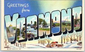 Vintage VERMONT Large Letter Postcard Winter Scene Curteich Linen c1940s Unused