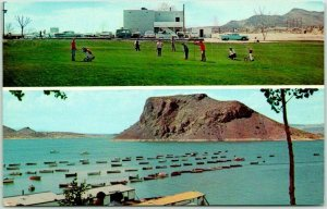 Truth or Consequences, New Mexico Postcard Golf Course / Boat Marina Scene 1960s