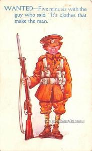 Military Comic Postcard, Old Vintage Antique Post Card Wanted Unused