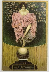 OId Divided Back Postcard DVB Gilded Lady in Vicorian Rococo Dress His Affinity