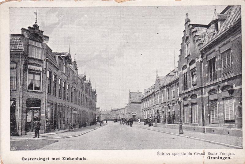 GRONINGEN , Netherlands , 1890s ; Oostersingel met Ziekenhuis