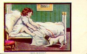 Good Morning - Girl and Dog     Artist: Dorothy Dixon  (Series 509)