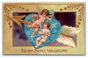 20539  VALENTINE Blue heart with arrow. cupids