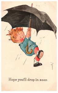 Boy holding Umbrella, Hope you'll drop in soon
